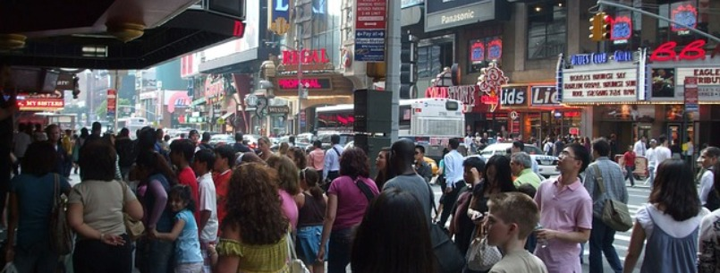 times square crowd