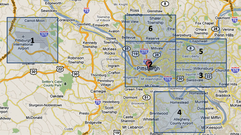 Map of Pittsburgh Hotels
