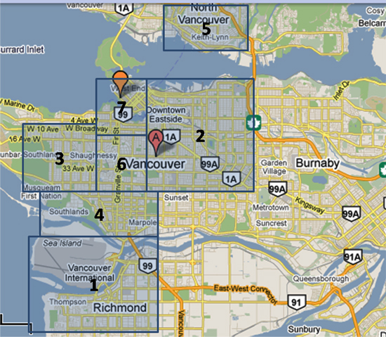 vancouver hotel map