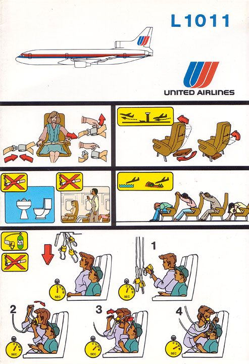 united airlines lockheed l-1011 safety card (With images) | United ...