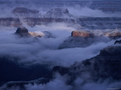 Cloudy, Winters Morning on the South Rim, Grand Canyon National Park, Arizona