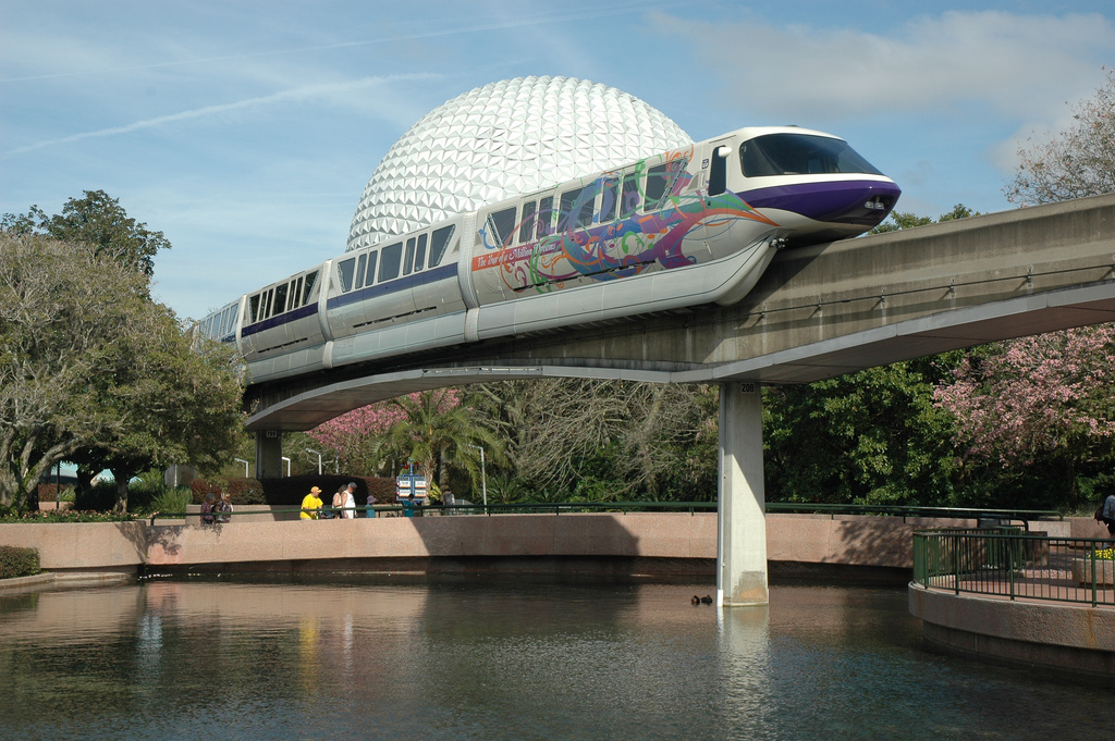 EPCOT Monorail and Spaceship Earth