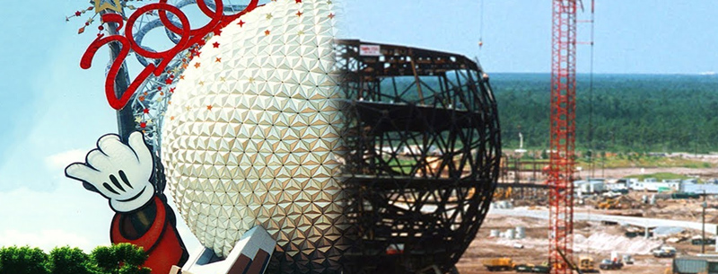 Epcot Spaceship Earth being built