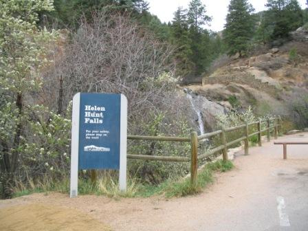 Sign for Helen Hunt falls in Colorado Springs