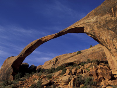 Sunrise on Landscape Arch in Desert, Arches National Park, Utah, USA