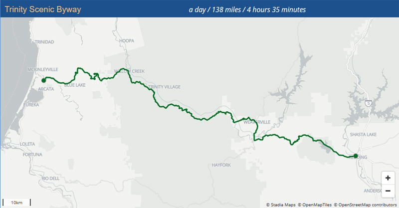 map of Trinity Scenic Byway