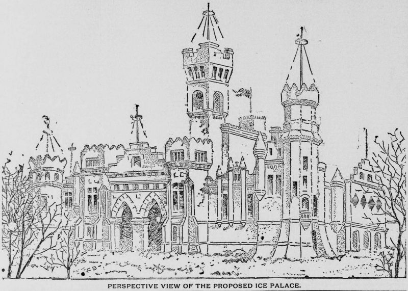 View of Proposed Ice Castle Nov 8, 1885