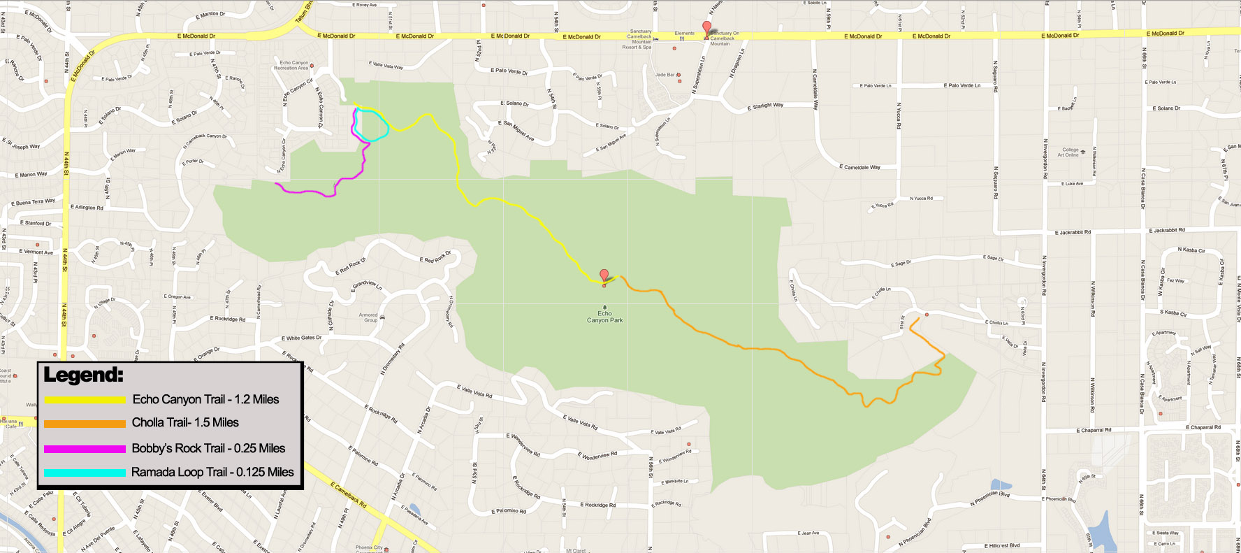 Camelback Mountain trail map